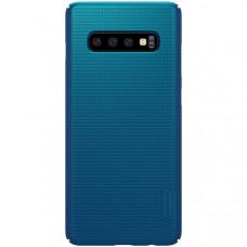 Чехол накладка для Samsung Galaxy S10+ Nillkin Super Frosted Shield Синий